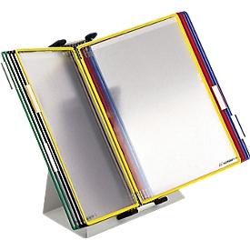 Soporte de mesa + 10 tableros A4, colores surtidos