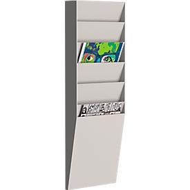 Soporte de pared para folletos Paperflow A4 vertical 6 compartimentos, gris