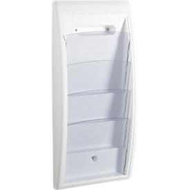 Soporte de pared para folletos Quickfit, 4 compartimentos, DIN A4, blanco