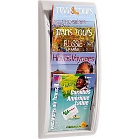 Soporte de pared para folletos Quickfit, 4 compartimentos, DIN A4, gris