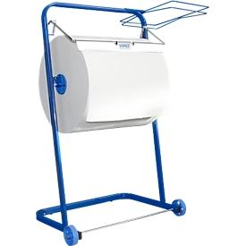 Soporte de pie WIPEX, p. rollos de papel de limpieza hasta An 400mm, móvil, con soporte para bolsas de basura