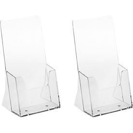 Soporte de señalización de mesa, poliestireno, para DIN largo, 2 piezas