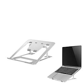Soporte para portátiles NewStar NSLS085SILVER, para portátiles de 10-17″ y hasta 5 kg, ajuste de altura manual en 6 pasos, plegable, plata.