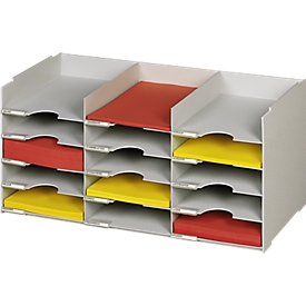 Sorteerstation, A4, polystyreen, voor kasten, 15 vakken, B 674 x D 304 x H 313 mm