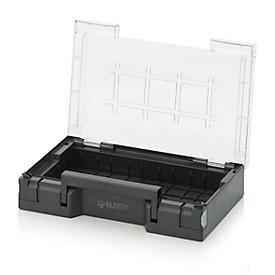Sortimentskasten unbestückt, 15 Felder/3 x 5 Reihen, Deckel + Griff, B 300 x T 200 x H 71 mm, ABS