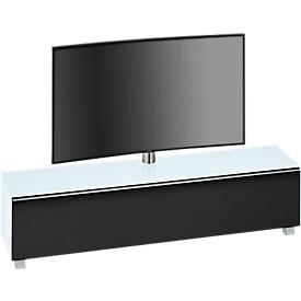 Soundboard Nizza, met TV-houder, zwenkbare houder, 6 vakken, wit glas/mat