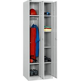 Spaarset 2x locker, 1 x met 2 legplanken & garderobekast, 1 x met 4 legplanken, B 300 x D 457 x H 1800 mm, cilinderslot