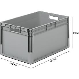 Sparset 5-teilig Euro Box ELB 6320, aus Polypropylen, Inhalt 64 l, grau, B 600 x T 400 x H 320 mm