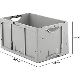 Sparset 5-teilig Euro Box Serie LTB 6320, aus Polypropylen, Inhalt 61,7 l, ohne Deckel, grau, B 600 x T 400 x H 320 mm