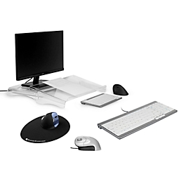 Sparset BakkerElkhuizen Home Working Kit 1, ergonomisch, bestehend aus Dokumentenhalter Q-doc 100, Tastatur UltraBoard 960, Vertikalmaus Grip Mouse & Mauspad The Egg