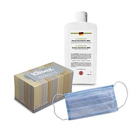 Sparset Handtücher-Box KLEENEX® Ultra Soft + multiGREEEN® Flächendesinfektion, 500 ml + Mund-Nasen-Schutz, 50 Stück