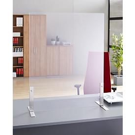 Spuckschutz, Kunststoff, klar-transparent, Stärke 4 mm, B 800 x H 800 mm, ohne Durchreiche, mit Edelstahl-Füßen