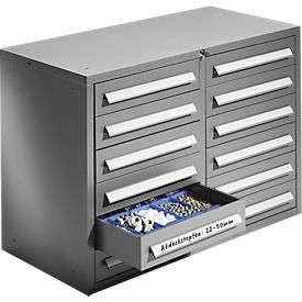 SSI Schäfer Schubladenschrank Schub-Fix SF 120, 2 x 6 Schübe, Stahlblech, hellsilber, B 1055 x T 500 x H 723 mm, abschließbar