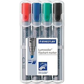 STAEDTLER Flipchartmarker Lumocolor 356BWP4, 4er Set