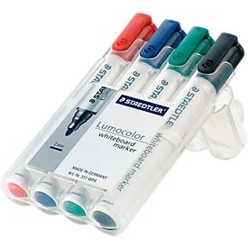 STAEDTLER Whiteboardmarker Lumocolor®, farbsortiert, Rundspitze: 2 mm, 4er Set