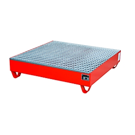 Stahl-Auffangwanne mit Gitterrost, 1200 x 1200 mm, rot RAL 3000