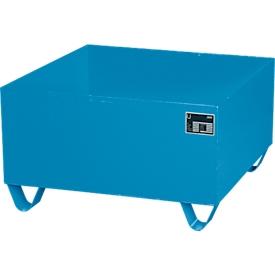 Stahl-Auffangwanne ohne Gitterrost, 800 x 800 mm, blau RAL 5012