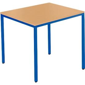 Stahlrohrtisch, Rechteck, Quadratrohrfuß, B 800 x T 700 x H 720 mm, Buche/blau