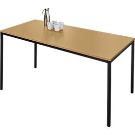 Stahlrohrtisch, rechteckig, Quadratrohrfuß, B 1600 x T 700 x H 720 mm, Buche/schwarz