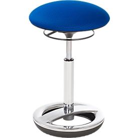 Stahulp Sitness HIGH BOB, ergonomische zitting, zithoogte 490 tot 700 mm, blauw, onderstel verchroomd