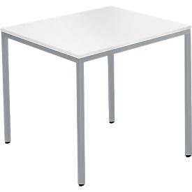 Stalen buis tafel, rechthoekig, vierkante buis voet, B 1200 x D 700 zero x H 720 mm, wit/wit aluminium