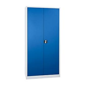 Stalen kast, H 1950 x B 920 x D 420 mm, lichtgrijs/gentiaanblauw
