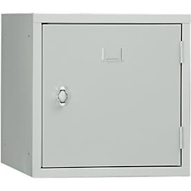 Stalen kubuskast, afsluitbaar, 380 mm, corpus grijs en deur lichtgrijs RAL 7035