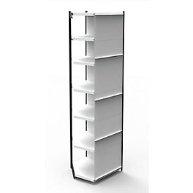 Stalen rek PROGRESS 2000, stellingsectie, achterwand, H 2600 x B 750 x D 300 mm, zwart frame