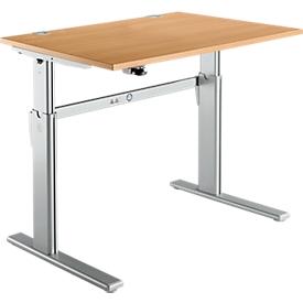 Standard bureau, C-poot, rechthoekig, hoogte elektrisch verstelbaar, B 1200 x D 800 x H 725-1185 mm, beukendecor