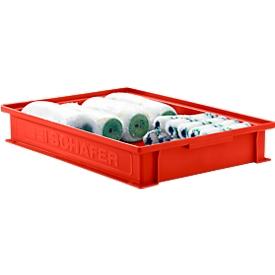 Stapelbak serie 14/6-2F, van polypropyleen, met verzonken handgreep, inhoud 8 L, rood