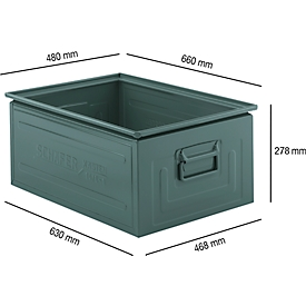 Stapelbak serie ST 14/6-1, van staal, inhoud 79 L, L 650 x B 468 x H 300 mm, gelakt