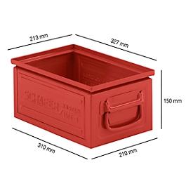 Stapelbak serie ST14/6-3, gemaakt van staal, inhoud 9,3 L, ideaal voor zware goederen, rood