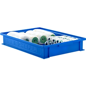 Stapelkasten Serie 14/6-2F, aus Polypropylen, mit Griffmulde, Inhalt 8 L, blau
