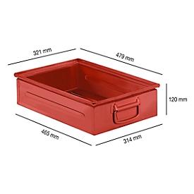 Stapelkasten Serie ST14/6-2H, aus Stahl, Inhalt 14,2 L, ideal f. schwere Güter, rot