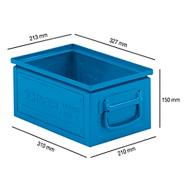 Stapelkasten Serie ST14/6-3, aus Stahl, Inhalt 9,3 L, ideal f. schwere Güter, blau