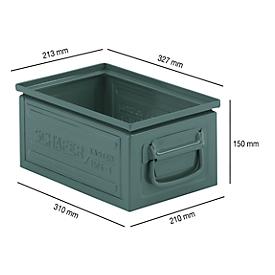 Stapelkasten Serie ST14/6-3, aus Stahl, Inhalt 9,3 L, ideal f. schwere Güter, lackiert