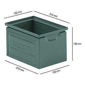 Stapelkasten Serie ST14/6-4, aus Stahl, Inhalt 3,2 L, ideal f. schwere Güter, lackiert