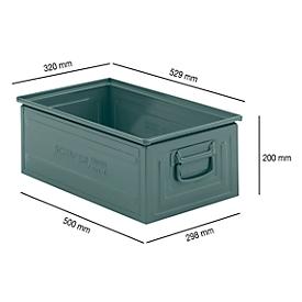 Stapelkasten Serie ST14/6-A, aus Stahl, Inhalt 27,7 L, ideal f. schwere Güter, lackiert