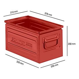 Stapelkasten Serie ST14/6-B, aus Stahl, Inhalt 12,8 L, ideal f. schwere Güter, rot