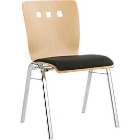 Stapelstuhl 7450, Formsitz, Lordosenstütze, Designerbohrungen, ohne Armlehnen, Bezugsstoff Kashmara, schwarz