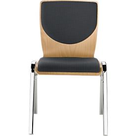 Stapelstuhl 7450, Formsitz, Lordosenstütze, Rückenpolster, ohne Armlehnen, Bezugsstoff Point/Trevira CS, grau