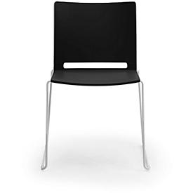 Stapelstuhl ILike, inkl. Kunststoffgleiter, Gestell alugrau lackiert, schwarz, 4 Stück