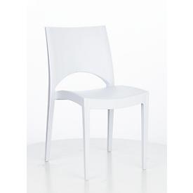 Stapelstuhl SOL, ergonomisch geformt, UV- & wetterbeständig, desinfektionsmittelbeständig, stapelbar bis 20 Stück, weiß