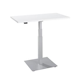 Start-Up bijzettafel, elektrisch in hoogte verstelbaar, rechthoekig, zuilvoet, B 1000 x D 600 x H 635-1285 mm, alu wit/wit
