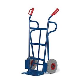 Steekwagen met gebogen achterkant en laadvlak + steunbeugels, draagvermogen 250 kg, banden van massief rubber