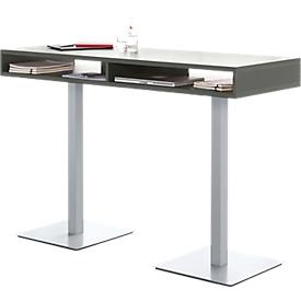 Steh-Konferenztisch BOX, mit Ablage-Boxen, Höhe 1050 mm, graphit