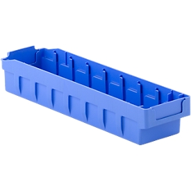 Stellingbak RK 400S, polystyreen, L 390 x B 97 x H 64 mm, 8 vakken, voor kastdiepte 400 mm, blauw