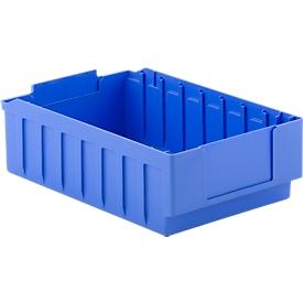 Stellingbak RK 421B, polystyreen, L 390 x B 243 x H 115 mm, 8 vakken, voor kastdiepte 400 mm, blauw