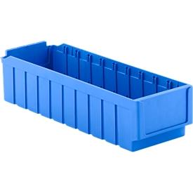 Stellingbak RK 521, polystyreen, L 508 x B 162 x H 115 mm, 10 vakken, voor kastdiepte 500 mm, blauw