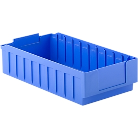 Stellingbak RK 521B, polystyreen, L 490 x B 243 x H 115 mm, 10 vakken, voor kastdiepte 500 mm, blauw
